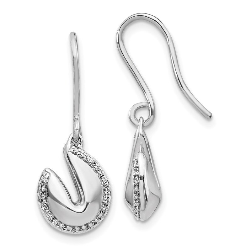 Quality Gold 14k White Gold Diamond Fortune Cookie Earrings