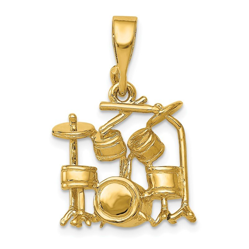 Quality Gold 14K 3D Drum Set Charm