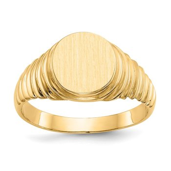 14k 10.5x9.5mm Open Back Men's Signet Ring