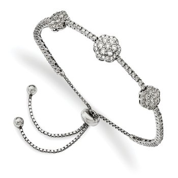 Sterling Silver Rhodium-plated CZ Adjustable 5in up to 9in Bracelet