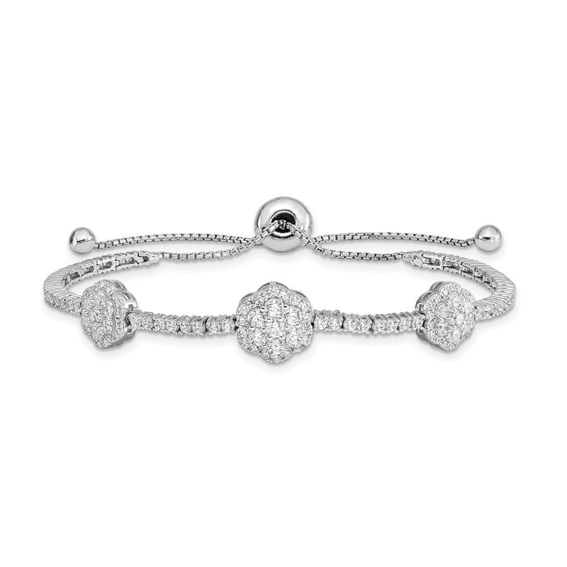 Quality Gold Sterling Silver Rhodium-plated CZ Adjustable 5in up to 9in Bracelet