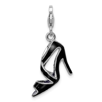 SS RH 3-D Enameled Black High Heel w/Lobster Clasp Charm