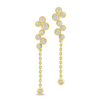 14k Gold and Diamond Bubble Earrings
