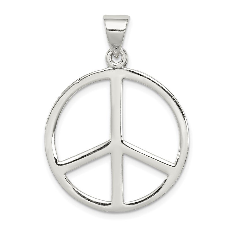 Quality Gold Sterling Silver Peace Symbol Pendant