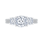 Cushion Cut Diamond with Sapphire Three-Stone Cathedral Style Engagement Ring In 18K White Gold (Semi-Mount)