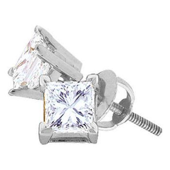 14kt White Gold Womens Princess Diamond Solitaire Stud Earrings 5/8 Cttw
