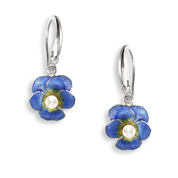 Sterling Silver Pansy Wire Earrings-Blue. Pearls