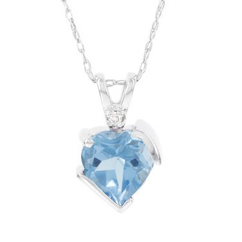 10k White Gold Blue Topaz Diamond Accent Heart Pendant