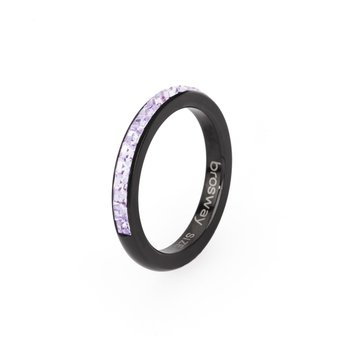 316L stainless steel, black pvd and violet Swarovski® Elements