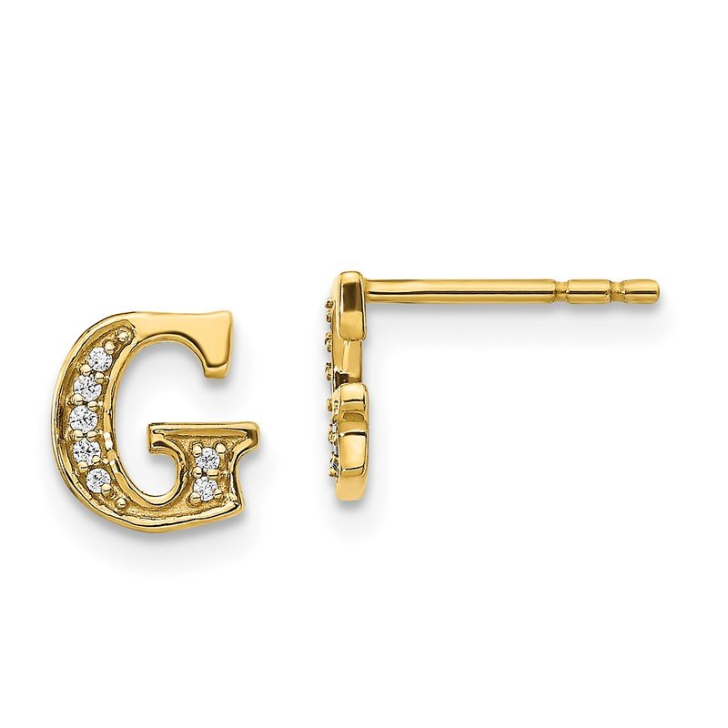 Quality Gold 14k White Gold Diamond Initial G Earrings