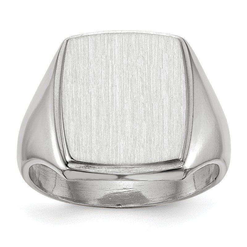 Quality Gold 14k White Gold 15.0x13.0mm Closed Back Men's Signet Ring