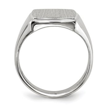14k White Gold 15.0x13.0mm Closed Back Men's Signet Ring