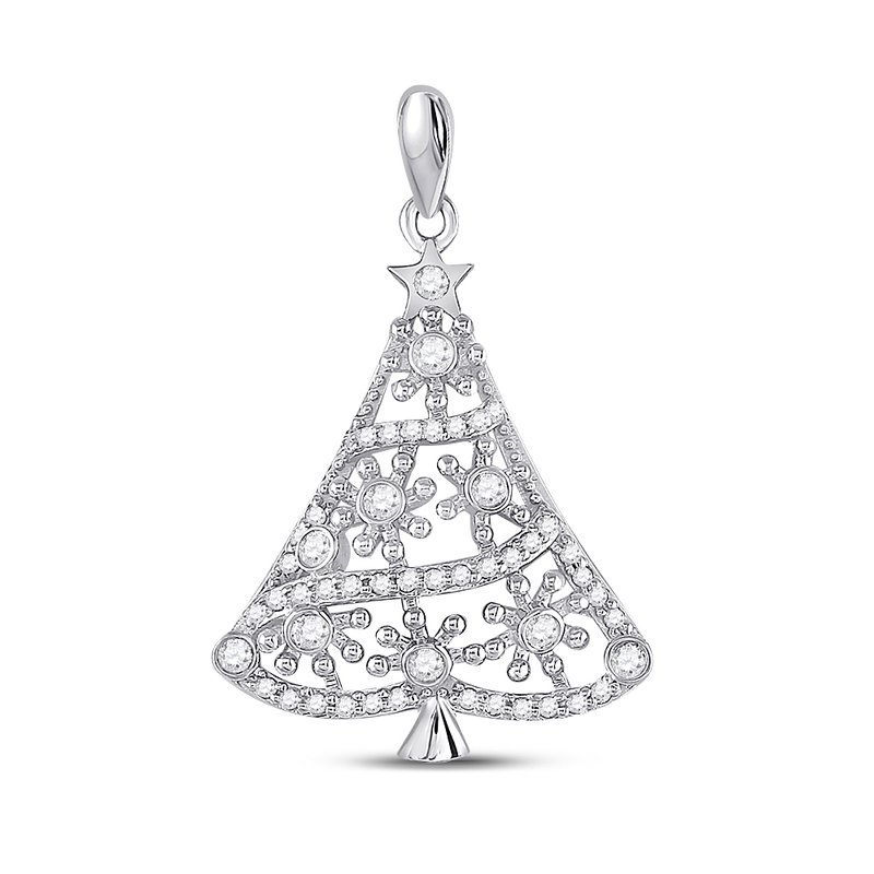 Gold-N-Diamonds, Inc. (Atlanta) 10kt White Gold Womens Round Diamond Christmas Tree Fashion Pendant 1/3 Cttw