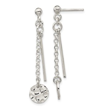 Sterling Silver Hammered Disc and Bar Dangle Post Earrings