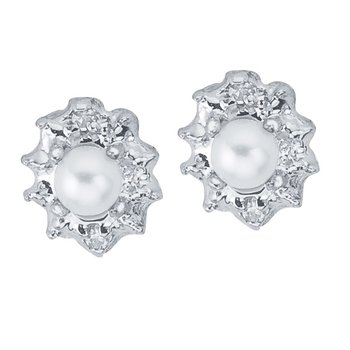 10k White Gold Freshwater Cultured Pearl And Diamond Earrings