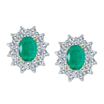 14k Yellow Gold Oval Emerald and Diamond Stud Earrings