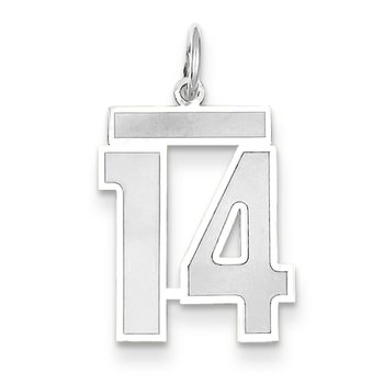 14k WG Medium Satin Number 14 Charm