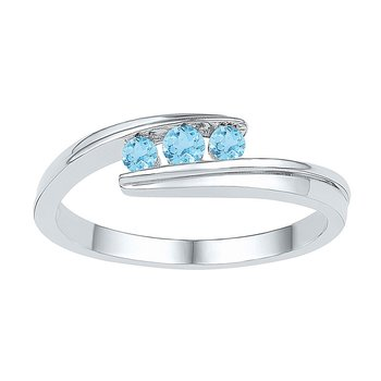 Sterling Silver Womens Round Lab-Created Blue Topaz 3-stone Ring 3/8 Cttw