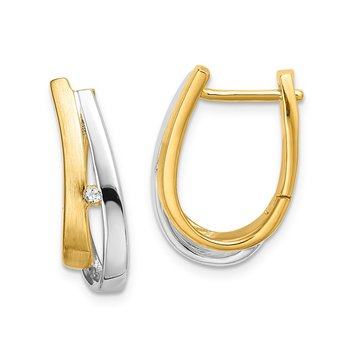 14k Yellow Gold With White Rhodium Diamond Hinged Hoop Earrings