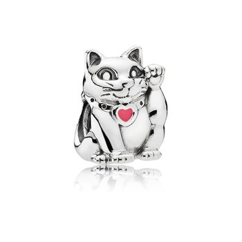 Lucky Cat Charm, Pink Enamel