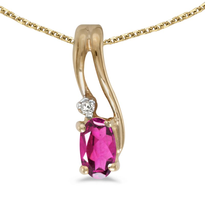 10k Yellow Gold Oval Pink Topaz And Diamond Wave Pendant