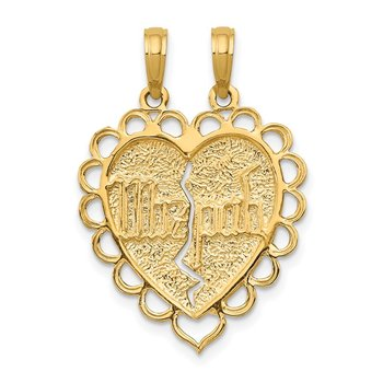14k Reversible Mizpah 2 Piece Break Apart Charm
