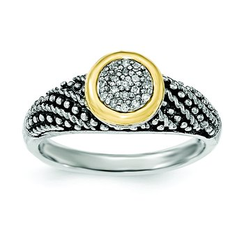 Sterling Silver w/14k Diamond Ring