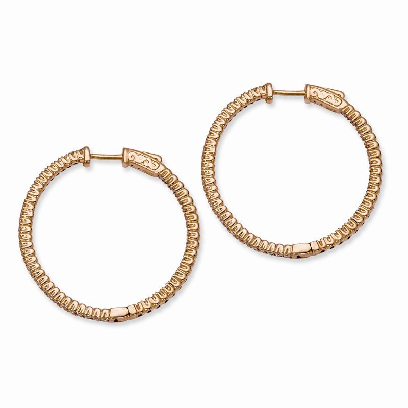 Quality Gold Sterling Silver Rose Gold-plated CZ In and Out Round Hoop Earrings