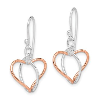 Sterling Silver w/Rose Vermeil Heart Dangle Earrings