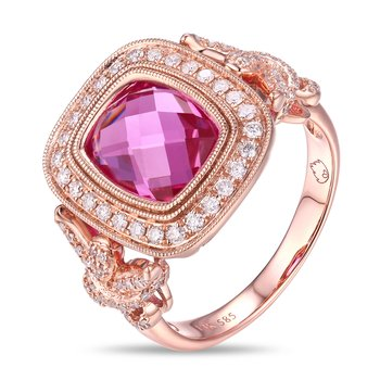 Ornate Vintage Inspired Pink Quartz and Diamond Ring