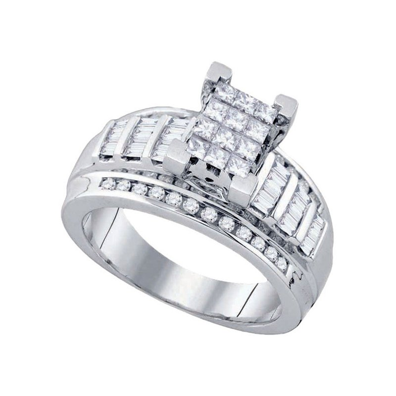 Gold-N-Diamonds, Inc. (Atlanta) 10kt White Gold Womens Princess Diamond Cindy's Dream Cluster Bridal Wedding Engagement Ring 7/8 Cttw - Size 5.5