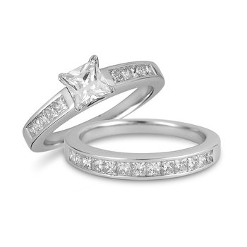 18K WG Diamond Engagement and Wedding Band