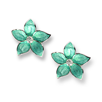 Sterling Silver Stephanotis Floral Stud Earrings-Turquoise. White Topaz.
