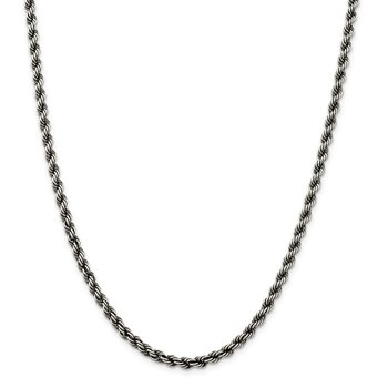 Sterling Silver Ruthenium-plated 4mm Rope Chain