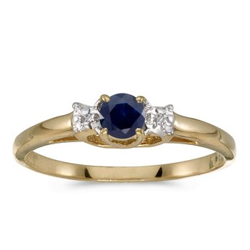 10k Yellow Gold Round Sapphire And Diamond Ring