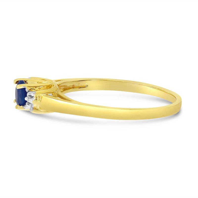 Color Merchants 10k Yellow Gold Round Sapphire And Diamond Ring