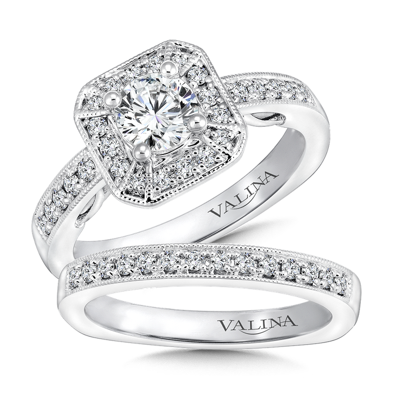 Valina Bridals Geometric shape halo mounting  .27 ct. tw.,  5/8 ct. round center.