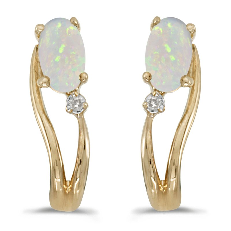 Color Merchants 14k Yellow Gold Oval Opal And Diamond Wave Earrings