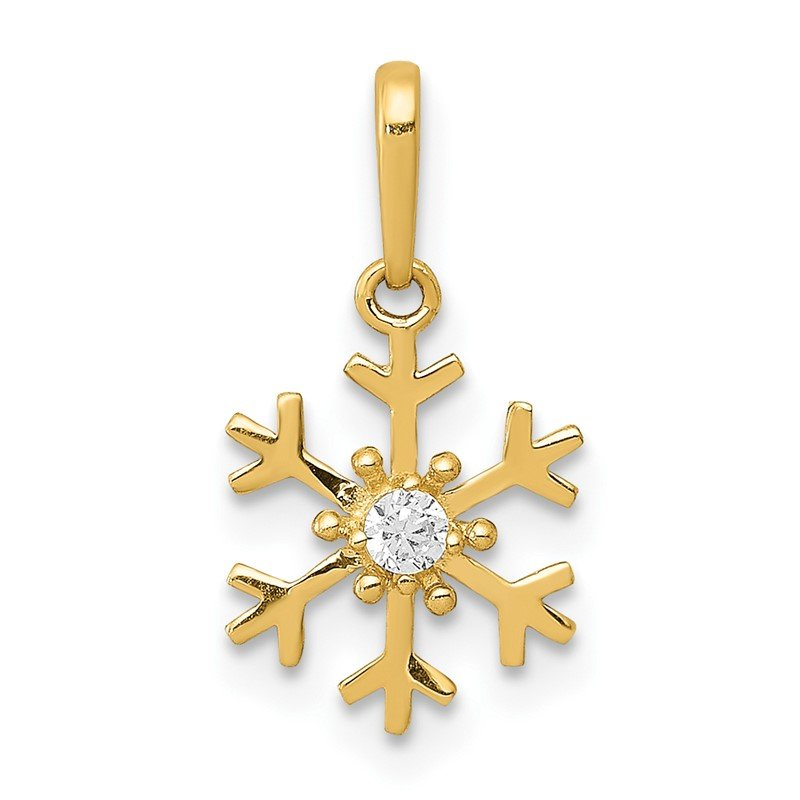 Quality Gold 14k Polished CZ Snowflake Charm