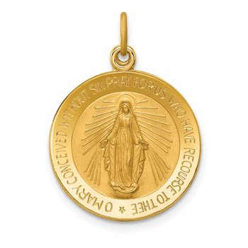 14k Solid Polished/Satin Small Round Miraculous Medal