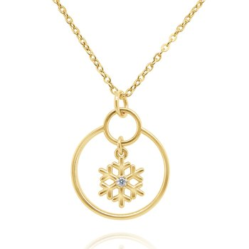 14k Gold and Diamond Snowflake Necklace