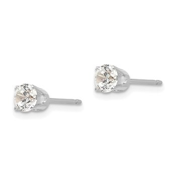 14k White Gold 4.25mm CZ stud earrings