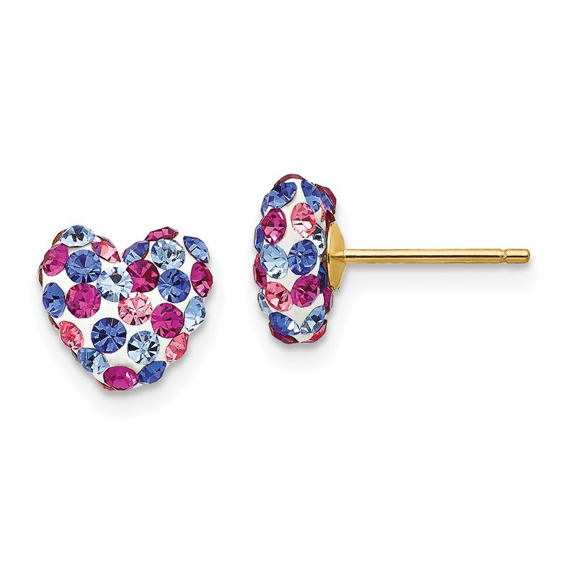 Quality Gold 14k Blue Pink White Crystal 8mm Heart Post Earrings