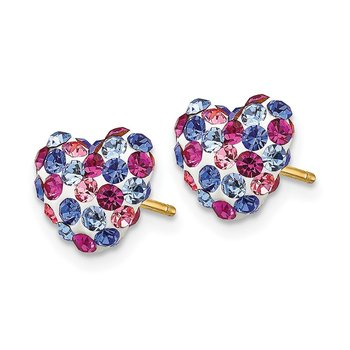 14k Blue Pink White Crystal 8mm Heart Post Earrings