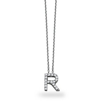 "Diamond Block Initial ""R"" Necklace in 14k White Gold with 17 Diamonds weighing .14ct tw."