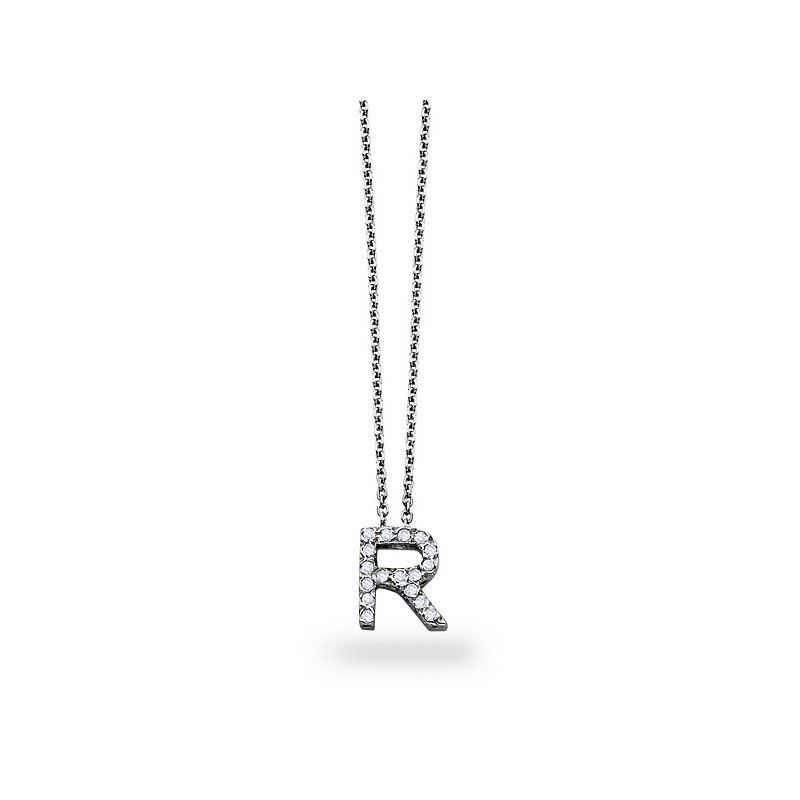 "KC Designs Diamond Block Initial ""R"" Necklace in 14k White Gold with 17 Diamonds weighing .14ct tw."