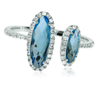 14k White Gold Offset Blue Topaz and Diamond Ring