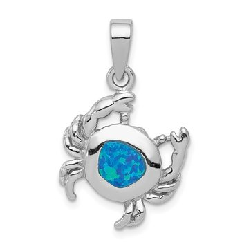 Sterling Silver Blue Inlay Created Opal Crab Pendant