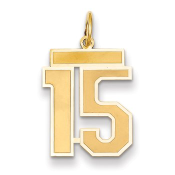 14k Medium Satin Number 15 Charm