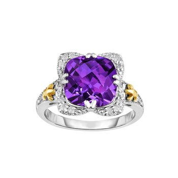 Silver & 18K Cushion Amethyst Gem Candy Ring